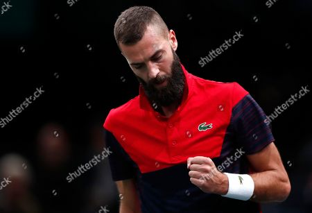 Benoit Paire of France reacts during his match against Damir Dzumhur of Bosnia Herzegovina at the Rolex Paris Masters tennis tournament in Paris, France, 28 October 2019.