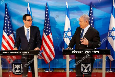 Israeli Prime Minister Benjamin Netanyahu and US Treasury Secretary Steven Mnuchin deliver joint statements during their meeting in Jerusalem, 28 October 2019.