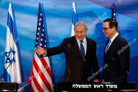 Israeli Prime Minister Benjamin Netanyahu (L) and US Treasury Secretary Steven Mnuchin prepare to deliver joint statements during their meeting in Jerusalem, 28 October 2019.