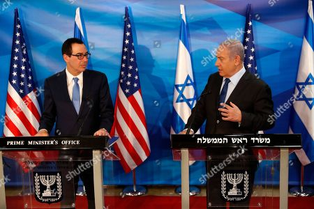 Israeli Prime Minister Benjamin Netanyahu (R) and US Treasury Secretary Steven Mnuchin deliver joint statements during their meeting in Jerusalem, 28 October 2019.