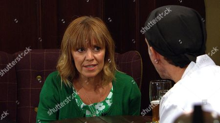 Ep 8637 Friday 1st November 2019  Marlon Dingle, as played by Mark Charnock, put in his place as an angry Rhona Goskirk, as played by Zoe Henry, defends her relationship with Graham.