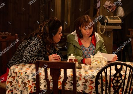 Ep 8648 Wednesday 13th November 2019  Mandy Dingle, as played by Lisa Riley, tries to help Lydia, as played by Karen Blick, reach out to her sister.