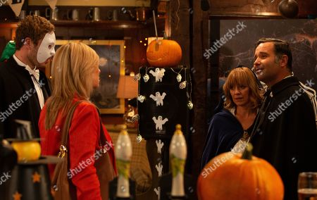 Ep 8635 Thursday 31st October 2019 - 1st Ep Kim Tate, as played by Claire King, is stunned to realise that Rhona Goskirk, as played by Zoe Henry, is Graham Foster's, as played by Andrew Scarborough, mystery woman. With Jamie Tate, as played by Alexander Lincoln.