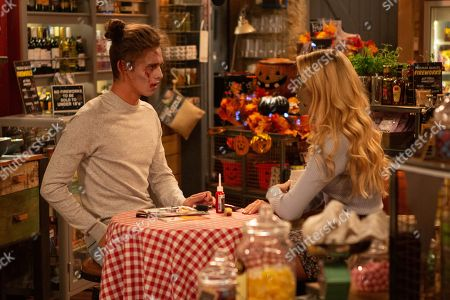 Ep 8636 Thursday 31st October 2019 - 2nd Ep Whilst getting ready for the Halloween party, Leanna, as played by Mimi Singer, tries to kiss Jacob Gallagher, as played by Joe Warren Plant.