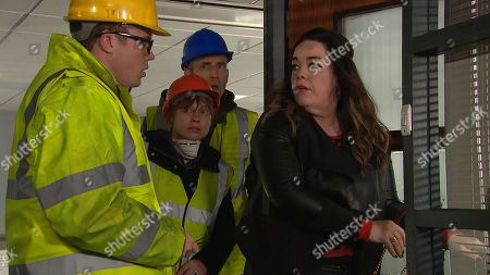 Ep 8642 Thursday 7th November 2019 - 1st ep Vinny, as played by Bradley Johnson, Lydia, as played by Karen Blick, & Sam Dingle, as played by James Hooton, catch Mandy Dingle, as played by Lisa Riley, before she breaks in but Mandy continues to try and concoct a plan. Mandy, Vinny, Lydia and Sam enter the office posing as Health & Safety inspectors and they manage to gain entry to the office.