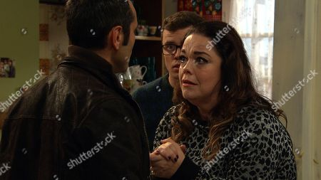 Ep 8634 Wednesday 30th October 2019  Terry, as played by Rene Zagger, turns up on the Dingles doorstep, and Mandy Dingle, as played by Lisa Riley, and Vinny, as played by Bradley Johnson, are left fearful for their lives.
