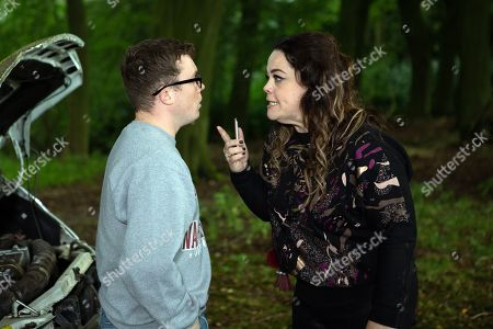 Ep 8631 Monday 28th October 2019  As they're held awaiting their Dingle trial, Mandy Dingle, as played by Lisa Riley, and Vinny, as played by Bradley Johnson, decide to make a run for it but having broken down in the Dingle's van they've nicked, they have to hide out in the Woods.
