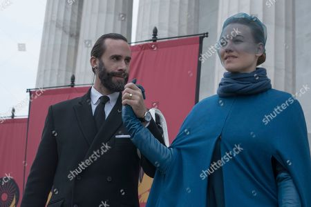 Joseph Fiennes as Fred Waterford and Yvonne Strahovski as Serena Joy Waterford