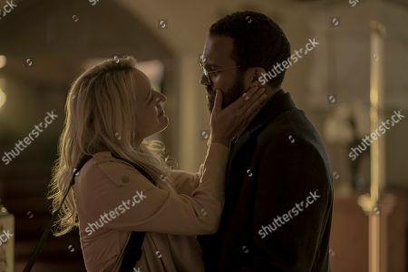 Elisabeth Moss as June Osborne and O-T Fagbenle as Luke Bankole