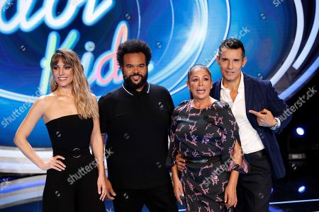 Edurne, Spanish music producer Carlos Jean, Spanish singer Isabel Pantoja and Spanish TV host Jesus Vazquez pose during the presentation of the new jury members for the Spanish edition of the 'Idol Kids' TV show, in Madrid, Spain, 28 October 2019.