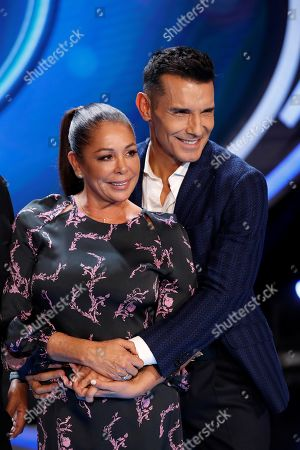 Isabel Pantoja (L) and Spanish TV host Jesus Vazquez (R) pose during the presentation of the new jury members for the Spanish edition of the 'Idol Kids' TV show, in Madrid, Spain, 28 October 2019.