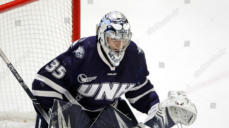 New Hampshire goaltender Ty Taylor during an NCAA hockey game against Merrimack on in North Andover, Mass