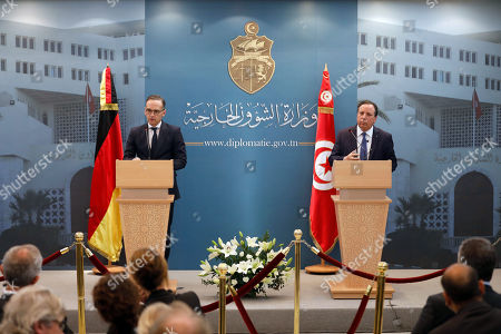 German Foreign Minister Heiko Maas (L) speaks during a joint press conference with his Tunisian counterpart Khemaies Jhinaoui (R) at the headquarters of the Ministry of Foreign Affairs in Tunis, Tunisia, 28 October 2019. Maas is visiting Tunisia few days after newly-elected Tunisian President Kais Saied was sworn-in.