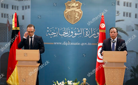 Stock Picture of German Foreign Minister Heiko Maas (L) speaks during a joint press conference with his Tunisian counterpart Khemaies Jhinaoui (R) at the headquarters of the Ministry of Foreign Affairs in Tunis, Tunisia, 28 October 2019. Maas is visiting Tunisia few days after newly-elected Tunisian President Kais Saied was sworn-in.