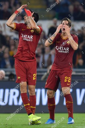 Javier Pastore and Nicolo Zaniolo react during the match