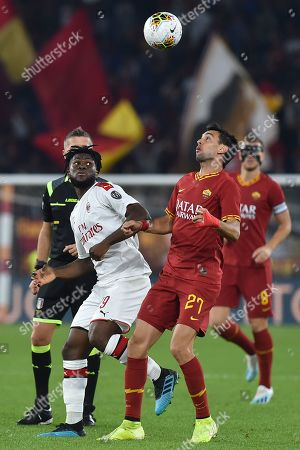 Frank Kessie and Javier Pastore in action during the match