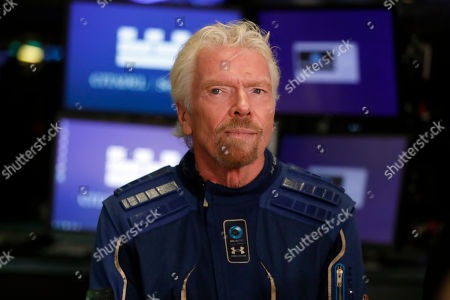 Sir Richard Branson, Founder of Virgin Galactic, is interviewed on the floor of the New York Stock Exchange