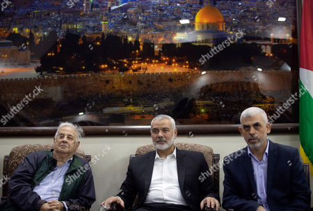 Yahya Sinwar, Ismail Haniyeh, Hanna Nasser. Yahya Sinwar, right, the Hamas militant group's leader in the Gaza Strip, sits with the Hamas movement chief, Ismail Haniyeh, center, as they meet the Head of the Central Elections Commission, Hanna Nasser, in Gaza City,. The militant Hamas group that runs the Gaza Strip says it's ready to go for Palestinian elections