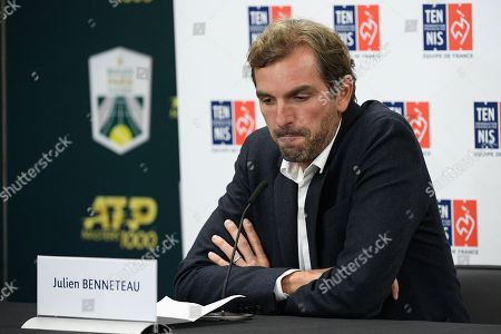 French Fed Cup captain Julien Benneteau during a press conference