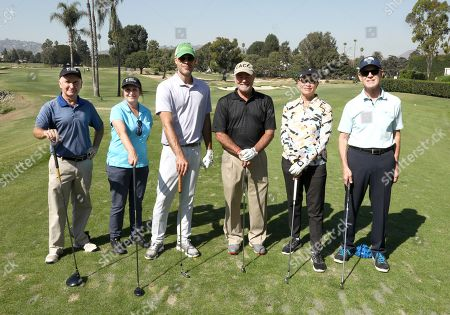 Stock Image of Matt Malloy, Susan Goldberg, Ben Cornwell, Bill Cornwell, Maureen Hosp, Jerry Petry. Matt Malloy, from left, Susan Goldberg, Ben Cornwell, Bill Cornwell, Maureen Hosp, and Jerry Petry from team 23 participate in the 20th Annual Emmys Golf Classic at the Wilshire Country Club, in Los Angeles