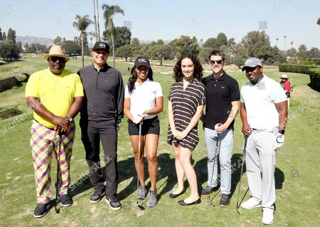Cedric the Entertainer, Larry Davis, Sakara Ross, Megan Trapani, Max Greenfield, Anthony Hill. Cedric the Entertainer, from left, Larry Davis, Sakara Ross, Megan Trapani, Max Greenfield and Anthony Hill from team 10 participate in the 20th Annual Emmys Golf Classic at the Wilshire Country Club, in Los Angeles