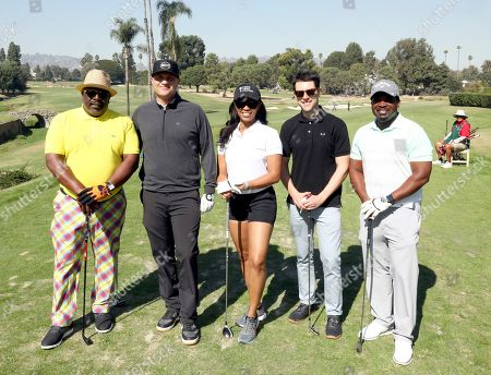 Cedric the Entertainer, Larry Davis, Sakara Ross, Max Greenfield, Anthony Hill. Cedric the Entertainer, from left, Larry Davis, Sakara Ross, Max Greenfield and Anthony Hill from team 10 participate in the 20th Annual Emmys Golf Classic at the Wilshire Country Club, in Los Angeles