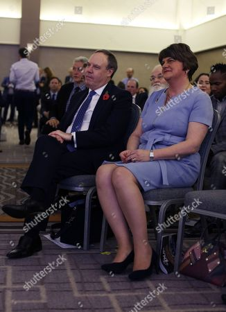 DUP Leader Arlene Foster MLA, with Deputy Leader Rt Hon Nigel Dodds MP at the Crowne Plaza Hotel
