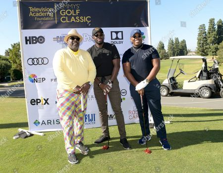 Stock Photo of Cedric the Entertainer, Sheaun McKinney, Marcel Spears. Cedric the Entertainer, from left, Sheaun McKinney, and Marcel Spears attend the 20th Annual Emmys Golf Classic at the Wilshire Country Club, in Los Angeles