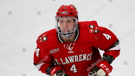 St. Lawrence's Cameron White (4) during an NCAA hockey game against Holy Cross on in Worcester, Mass