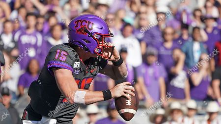 TCU quarterback Max Duggan (15) is pictured in the first half of an NCAA college football game against Texas in Fort Worth, Texas