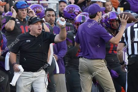 TCU head coach Gary Patterson is pictured on the sidelines in the second half of an NCAA college football game against Texas in Fort Worth, Texas