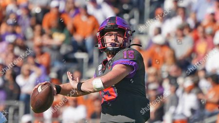 Stock Picture of TCU quarterback Max Duggan (15) is pictured in the first half of an NCAA college football game against Texas in Fort Worth, Texas