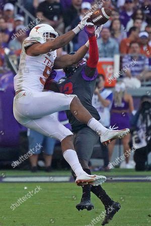 Collin Johnson, Jeff Gladney. Texas wide receiver Collin Johnson (9) and TCU cornerback Jeff Gladney (12) are pictured in the second half of an NCAA college football game in Fort Worth, Texas