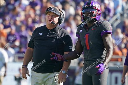 Gary Patterson, Jalen Reagor. TCU head coach Gary Patterson and wide receiver Jalen Reagor (1) are pictured in the first half of an NCAA college football game against Texas in Fort Worth, Texas