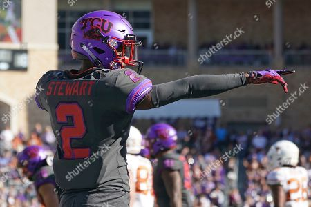 TCU cornerback Kee'yon Stewart (2) is pictured in the first half of an NCAA college football game against Texas in Fort Worth, Texas