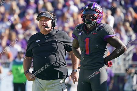Gary Patterson, Jalen Reagor. TCU head coach Gary Pattwerson and wide receiver Jalen Reagor (1) are pictured in the first half of an NCAA college football game against Texas in Fort Worth, Texas