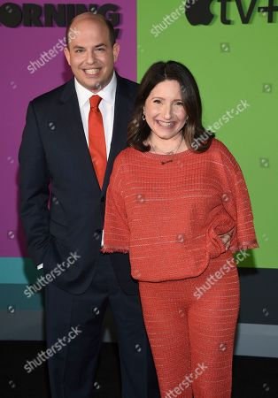 """Brian Stelter, Jamie Shupak Stelter. Brian Stelter, left, and Jamie Shupak Stelter attend the world premiere of Apple's """"The Morning Show"""" at David Geffen Hall, in New York"""