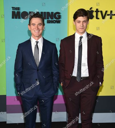 """Billy Crudup, William Atticus Parker. Actor Billy Crudup, left, and son William Atticus Parker attend the world premiere of Apple TV+'s """"The Morning Show"""" at David Geffen Hall at Lincoln Center on Monday, Oct. 28, in New York"""