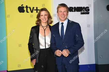 """Dawn Lerohl, Pat Kiernan. Television news anchor Pat Kiernan, right, and wife Dawn Lerohl attend the world premiere of Apple TV+'s """"The Morning Show"""" at David Geffen Hall at Lincoln Center on Monday, Oct. 28, in New York"""