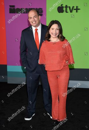 """Brian Stelter, Jamie Stelter. Consulting producer Brian Stelter, left, and wife Jamie Stelter attend the world premiere of Apple TV+'s """"The Morning Show"""" at David Geffen Hall at Lincoln Center on Monday, Oct. 28, in New York"""