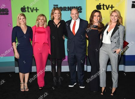 "Stock Image of Kate Bolduan, Alisyn Camerota, Christine Romans, Brian Stelter, Robin Meade, Poppy Harlow. CNN news anchors, from left, Kate Bolduan, Alisyn Camerota, Christine Romans, Brian Stelter, Robin Meade and Poppy Harlow attends the world premiere of Apple TV+'s ""The Morning Show"" at David Geffen Hall at Lincoln Center on Monday, Oct. 28, in New York"