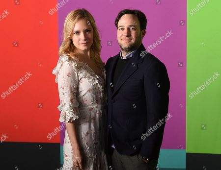 "Caitlin Mehner, Danny Strong. Danny Strong, right, and Caitlin Mehner attend the world premiere of Apple TV+'s ""The Morning Show"" at David Geffen Hall at Lincoln Center on Monday, Oct. 28, in New York"