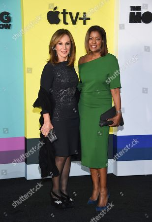"Rosanna Scotto, Lori Stokes. Journalists Rosanna Scotto, left, and Lori Stokes attend the world premiere of Apple TV+'s ""The Morning Show"" at David Geffen Hall at Lincoln Center on Monday, Oct. 28, in New York"