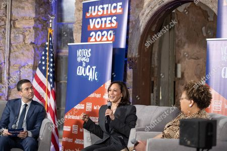 Stock Picture of From left: MSNBC anchor Ari Melber, Senator Kamala Harris (D-Ca), and Voters Organized to Educate advisory board member Rev. Vivian Nixon, discuss criminal justice reform before an audience of formerly incarcerated people at Justice Votes 2020, a presidential town hall, at Eastern State Penitentiary Historic Site, in Philadelphia, PA