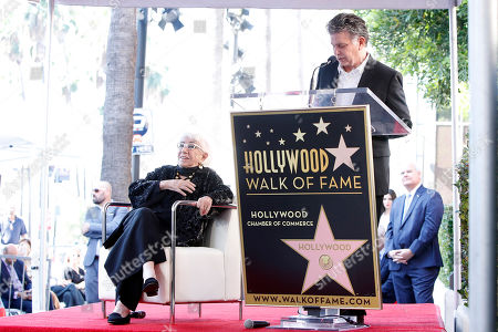 Steven Zaillian talks as Italian filmmaker Lina Wertmuller looks on during her Hollywood Walk of Fame star ceremony in Hollywood, Los Angeles, California, USA 28 October 2019. Lina Wetmuller received the 2,679th star on the Hollywood Walk of Fame in the category of Motion Pictures.