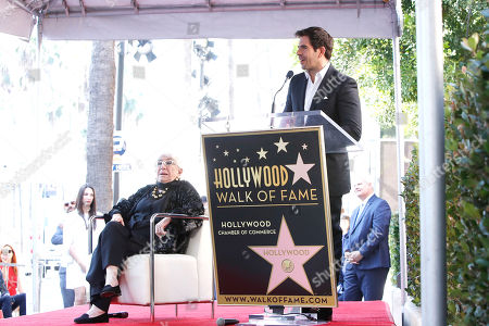 US Film firector Eli Roth talks as Italian filmmaker Lina Wertmuller looks on during her Hollywood Walk of Fame star ceremony in Hollywood, Los Angeles, California, USA 28 October 2019. Lina Wetmuller received the 2,679th star on the Hollywood Walk of Fame in the category of Motion Pictures.