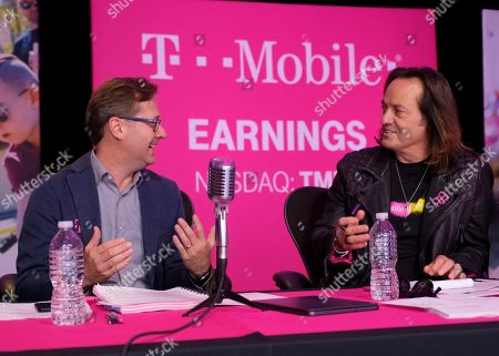 Un-carrier CEO John Legere (right) and T-Mobile President, Mike Sievert (left) answer caller's questions during the T-Mobile Q3 2019 Earnings call on in Bellevue, Wash. During the webcast, the company shared that the first Un-carrier move for the New T-Mobile will be announced on Nov. 7, 2019