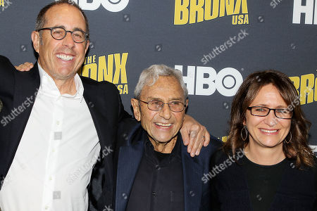 Stock Picture of Jerry Seinfeld, George Shapiro and Lisa Heller