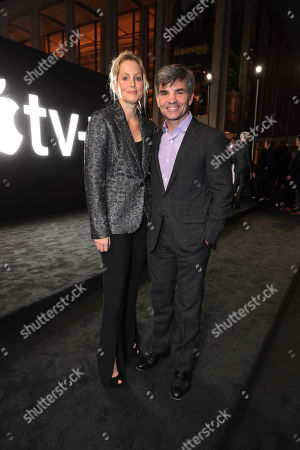 """Alexandra Wentworth and George Stephanopoulos attend Apple's global premiere of """"The Morning Show"""" at Josie Robertson Plaza and David Geffen Hall, Lincoln Center for the Performing Arts, New York City on October 28, 2019. """"The Morning Show"""" debuts November 1 on Apple TV+, available on the Apple TV app."""