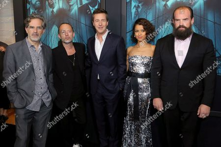 "Jonathan Lethem, Thom Yorke, Edward Norton, Gugu Mbatha-Raw, Ethan Suplee. Jonathan Lethem, from left, Thom Yorke, Edward Norton, Gugu Mbatha-Raw and Ethan Suplee attend the LA Premiere of ""Motherless Brooklyn,"" at the Hollywood American Legion Post 43, in Los Angeles"